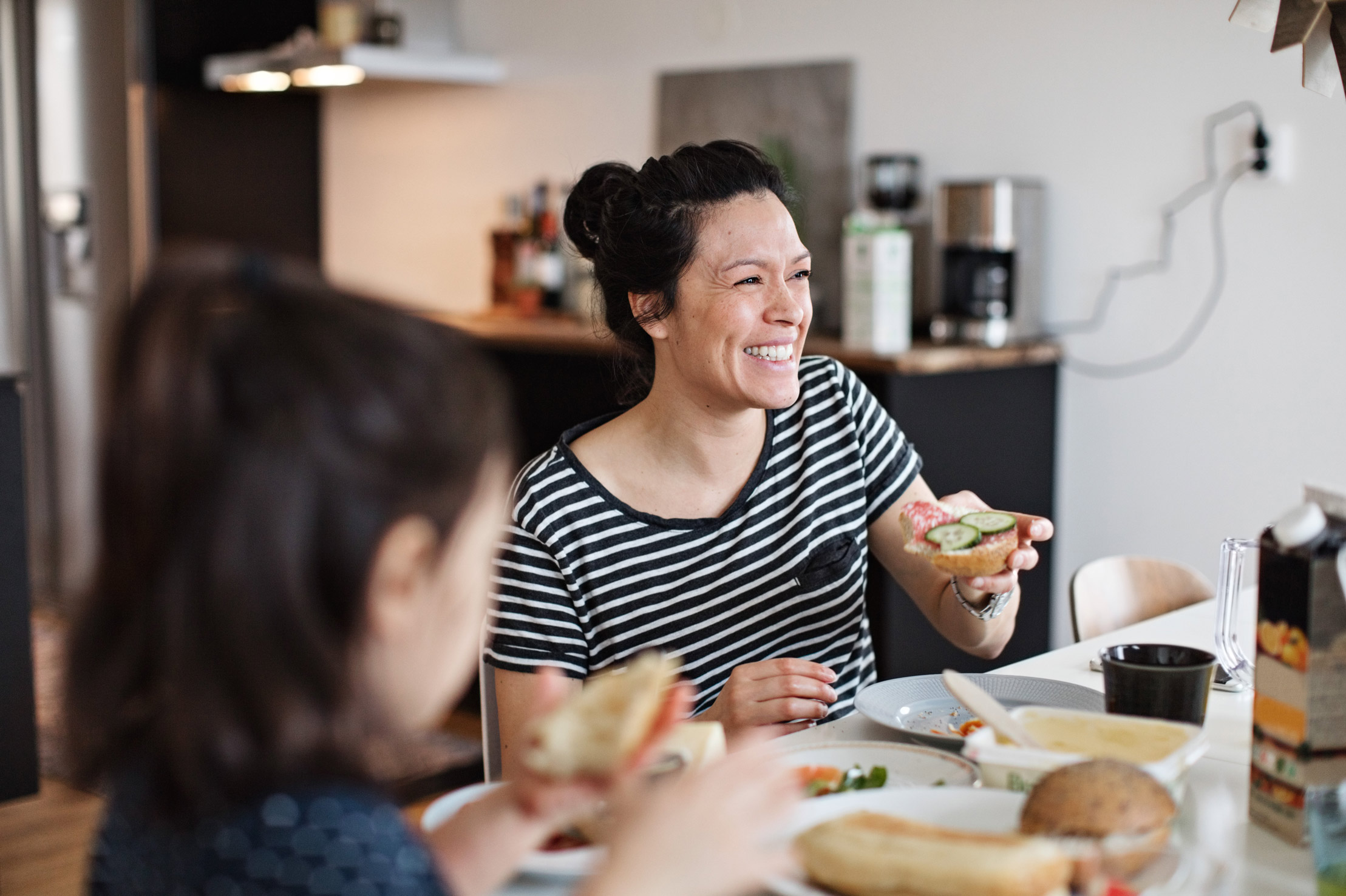 two women eating healthy meal